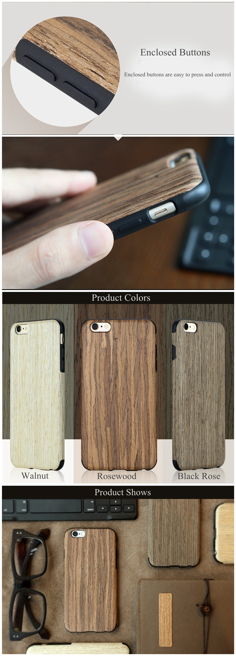 For iPhone 6 6S 4.7 inch ROCK Wooden Grain Case Hard Back Cover Shell