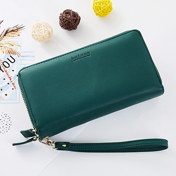 Women Pure Color Long Walllet Card Holder Phone Bag Purse