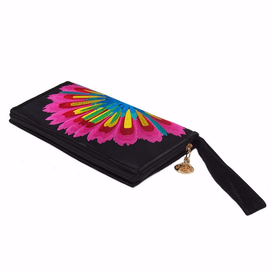 Rainbow Ethnic Style Embroidery Zipper Art Wallet Clutch Bags For iPhone Samsung Xiaomi