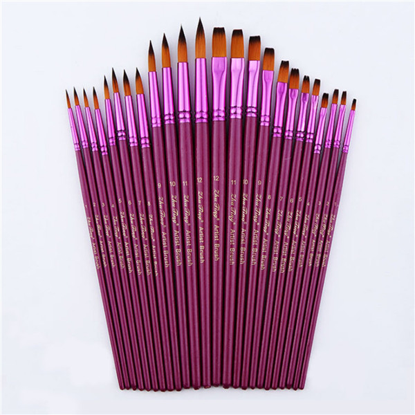 12pcs Flat Tip Round Tip Painting Brushes Artist Nylon Hair Watercolor Oil Drawing Pen iarts hand painted abstract color composition oil painting red 60 x 60cm