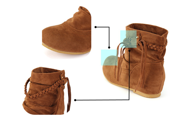 Big Size Women Casual Tassels Ankle Boots Increased Within Suede Boots