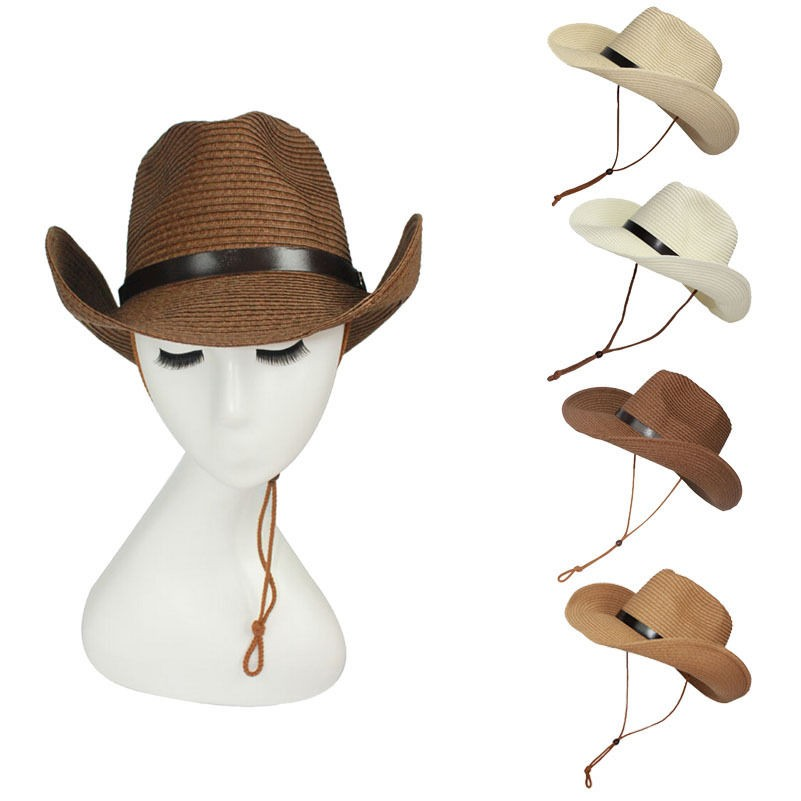 Unisex Straw Floppy Wide Brim Sun Hat Cowboy Cap Fedora Beach Belt Panama Hats With String voron unisex thicker cap winter wool knitted hat with thick cashmere male beanies cap casual hats solid color simple style