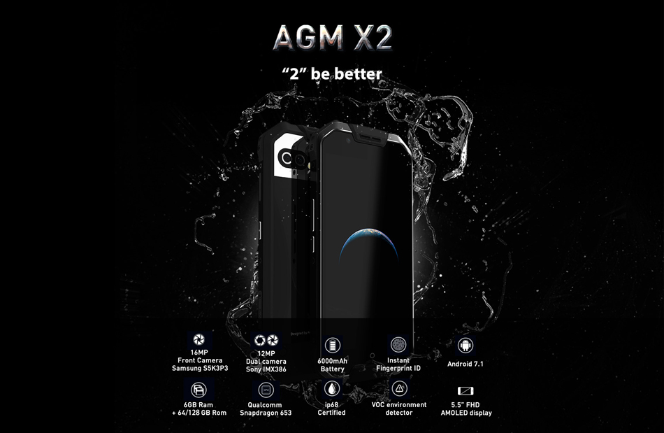 AGM X2 5.5-Inch AMOLED IP68 12MP Dual Rear Cameras 6GB RAM 64GB ROM Qualcomm Snapdragon 653 2.3GHz 6000mAh Battery 4G Smartphone
