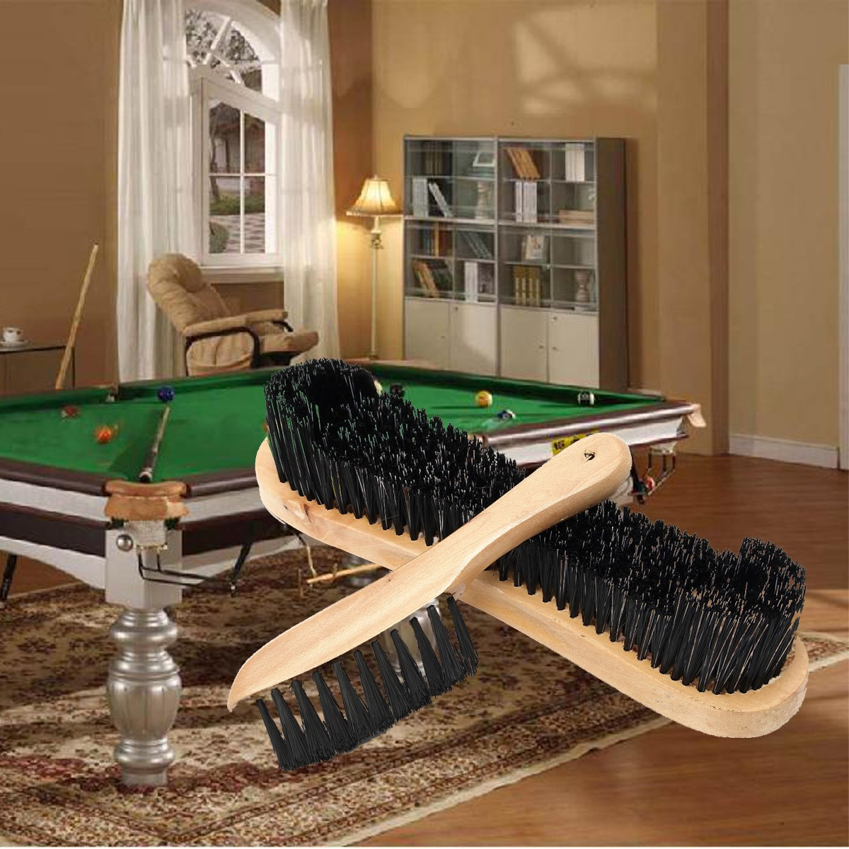 Wooden Cleaning Rail Felt Brush For Cue Sport Billiards Snooker Table . Full resolution  portrait, nominally Width 1200 Height 1200 pixels, portrait with #936A38.