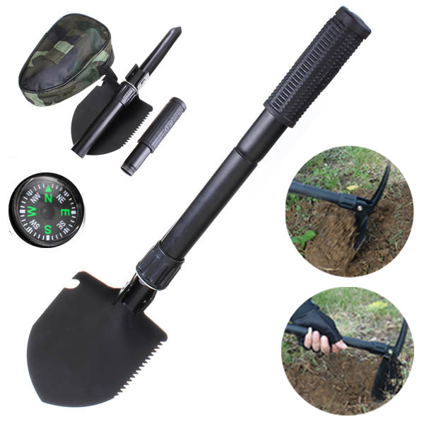 Gardening Multifunction Folding Shovel Spade Outdoor Camping Survival Tools with Compass military type stainless steel folding shovel camping tool black size l