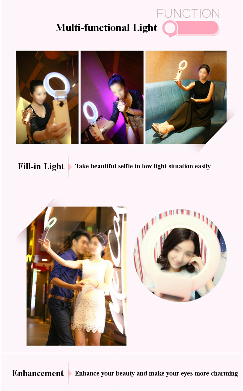 ISF CHARM EYES Luxury LED Ring Fill-in Light Clip-on Selfie For Smartphone Samsung iPhone Xiaomi