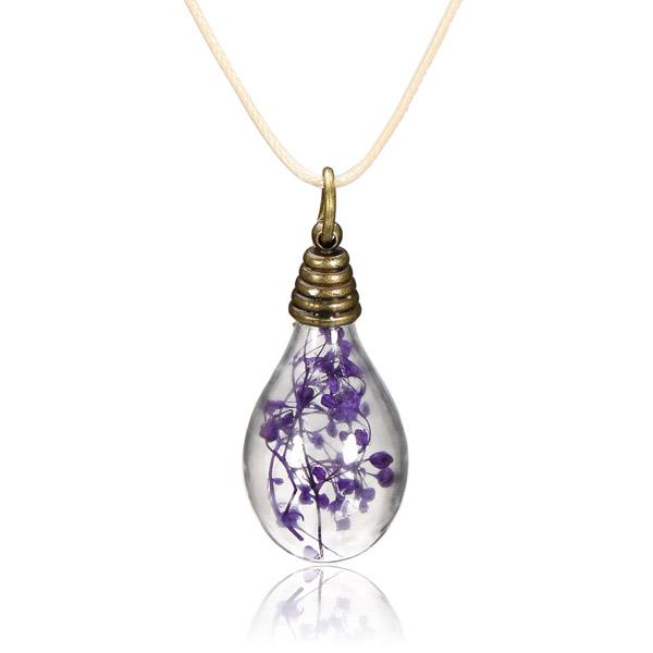 Buy Retro Vintage Dry Flower Light Bulb Pendant Chain Necklace