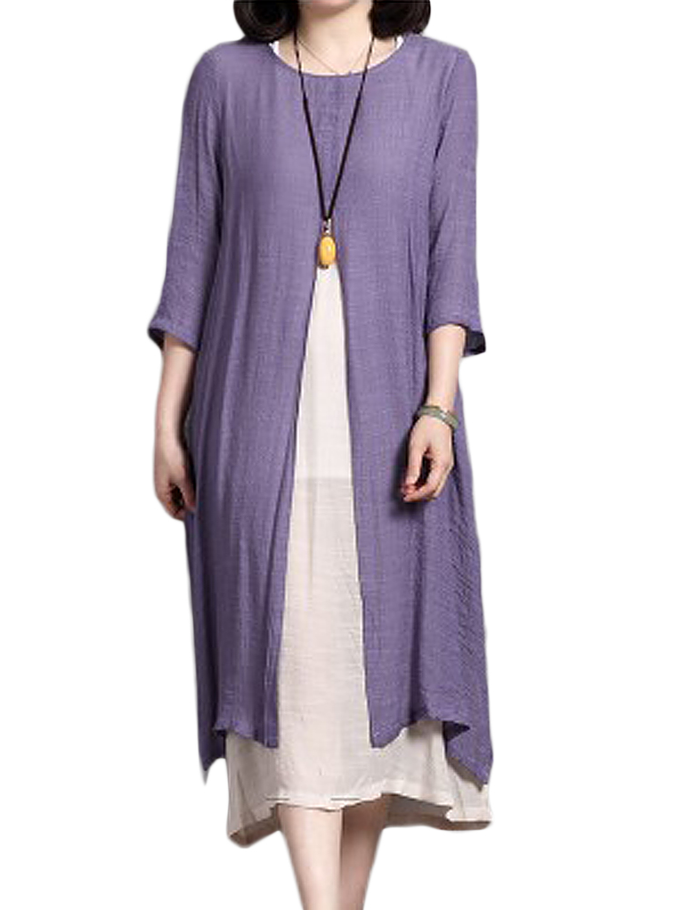 Casual Solid Color Linen Dress