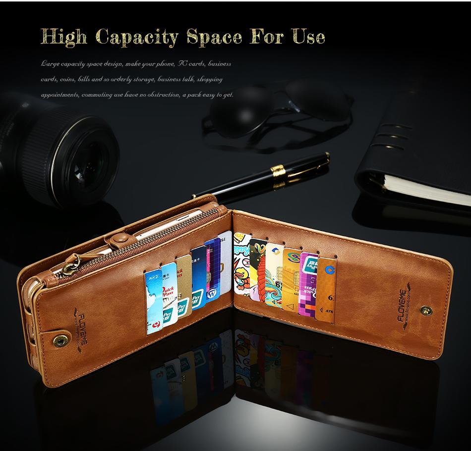 Floveme Retro Vintage Leather Multifunctional Wallet Case Detachable Phone Case For iPhone 7 Plus