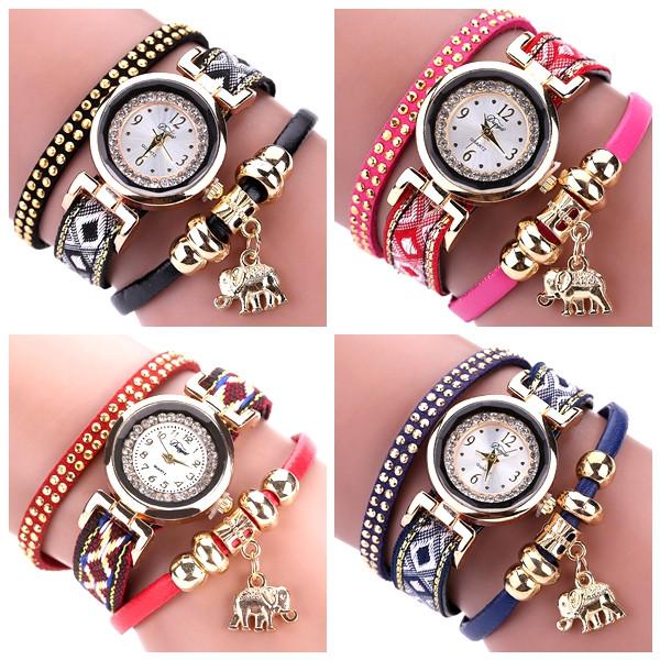 Fashion Elephant Decoration Rhinestones Design Ladies Bracelet Watch Casual Women Analog Watch