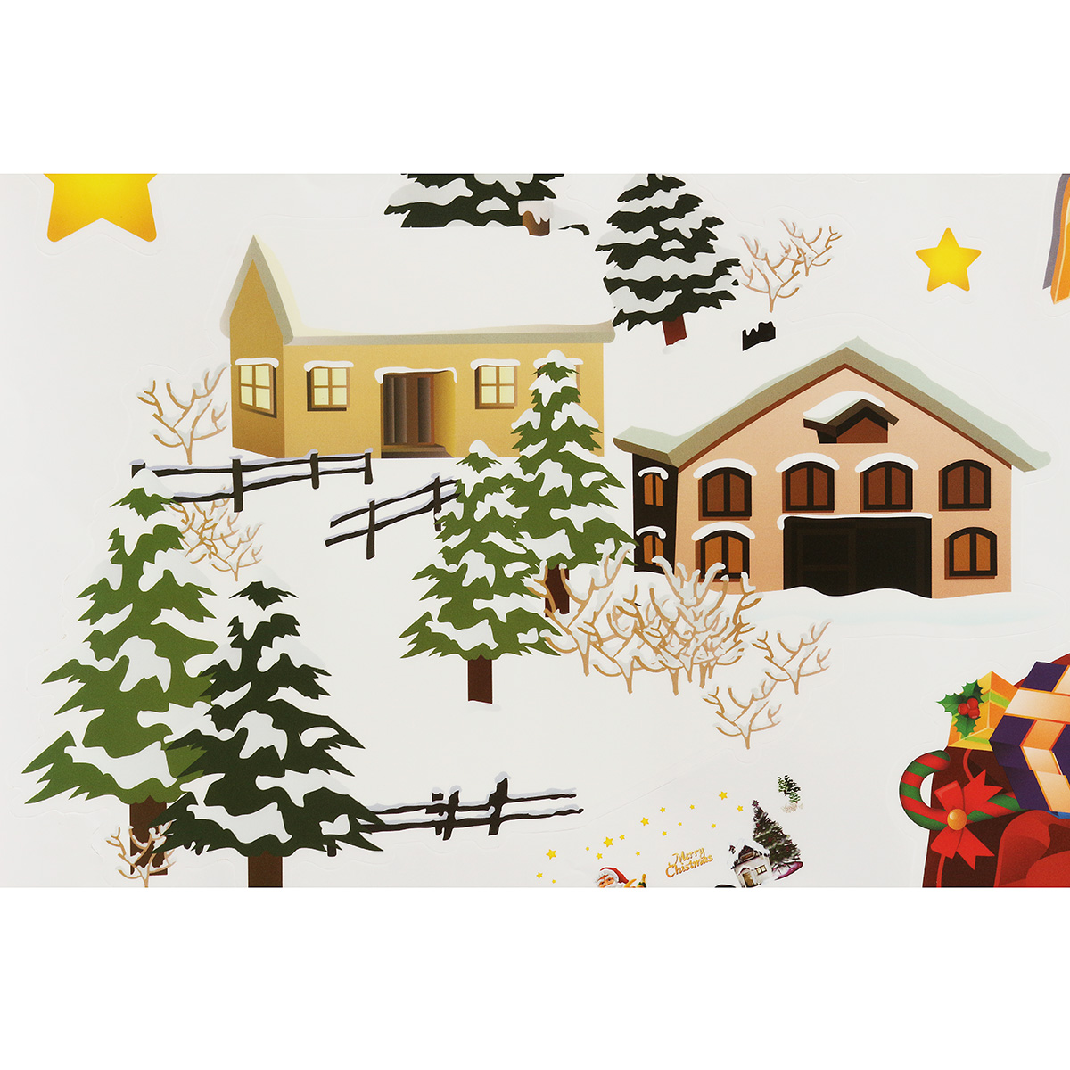 Removable merry christmas santa snowman window wall for Christmas window mural