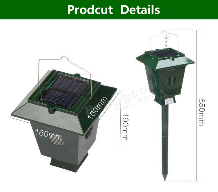 Solar Ultrasonic Bird Repeller Garden Orchard Fishpond Electronic Bird Scarer