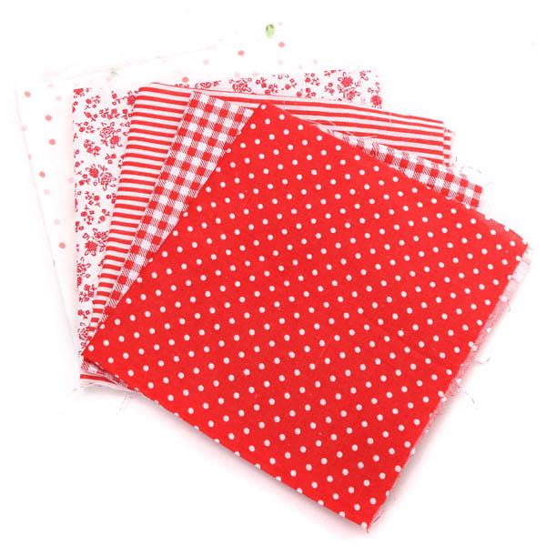 5pcs 25x20cm Red Series Cotton Sewing Fabric Dolls Purse Handwork DIY Patchwork Cloths