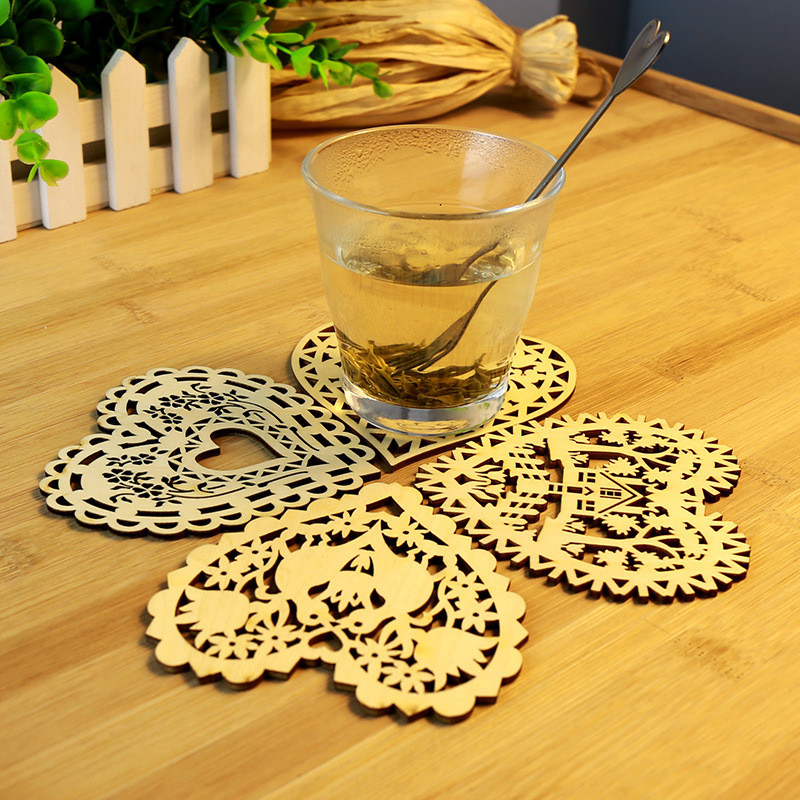 4pcs Three Retro Hollow Style Wooden Carved Snowflower Coasters Cup Mat Table Mat Home Supplies