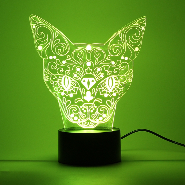 3D Cat Night Light 7 Color Change LED Art Desk Table Lamp