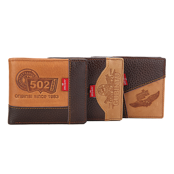 Men Wallet, Business Real Cowhide Leather, Three Style Money Bag Wallet