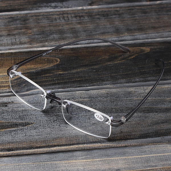 Grey Rimless Light Presbyopic Reading Glasses Fatigue Relieve Strength 1.0 1.5 2.0 2.5 3.0 2016 new tinize rimless polarized sunglasses driving ultra light titanium rimless aviation sun glasses mengafas de sol hombre