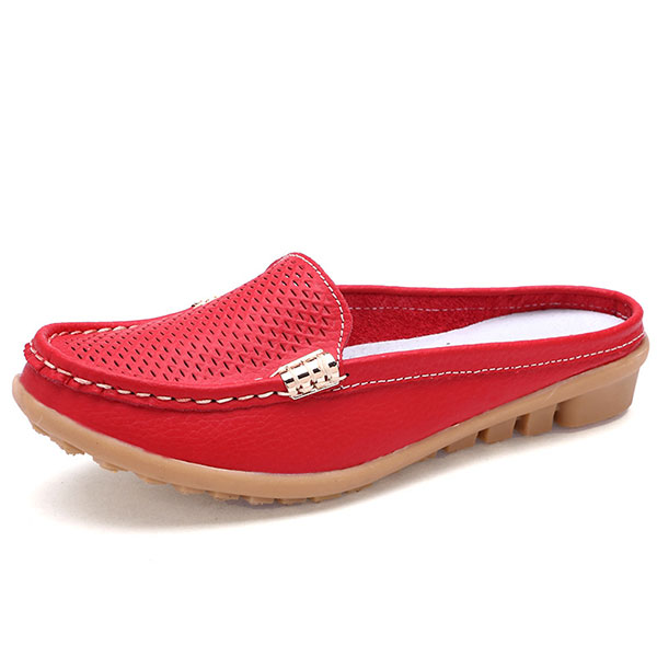Фото US Size 5-10 New Women Casual Fashion Breathable Round Toe Slip-On Leather  Flat Sandals Shoes