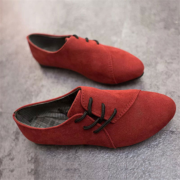 New Women Flat Loafers Comfortable Lace-Up Suede Casual Flat Shoes cresfimix sapatos femininas women casual size 35 to 50 flat shoes lady cute spring