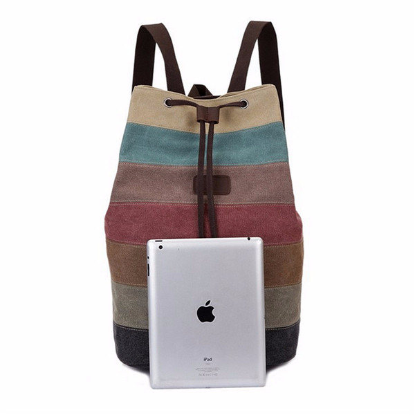 Size Of Stripe Canvas Backpack