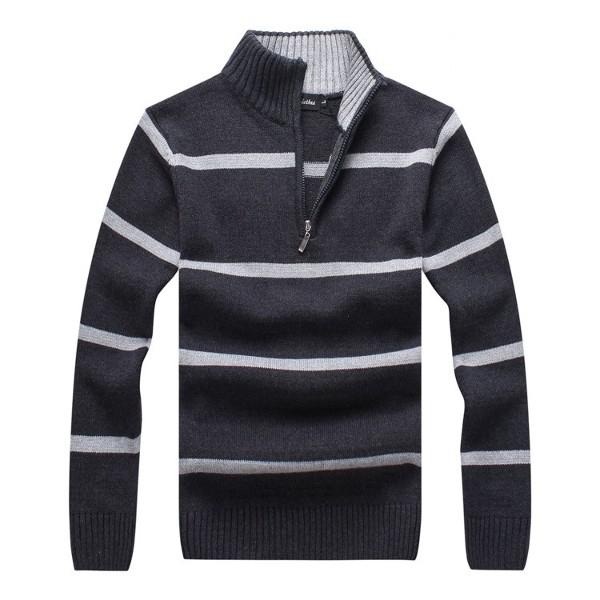 Mens Autumn Winter Stripe Stand Collar Zipper Sweater Casual Slim Fit Pullover Knitwear