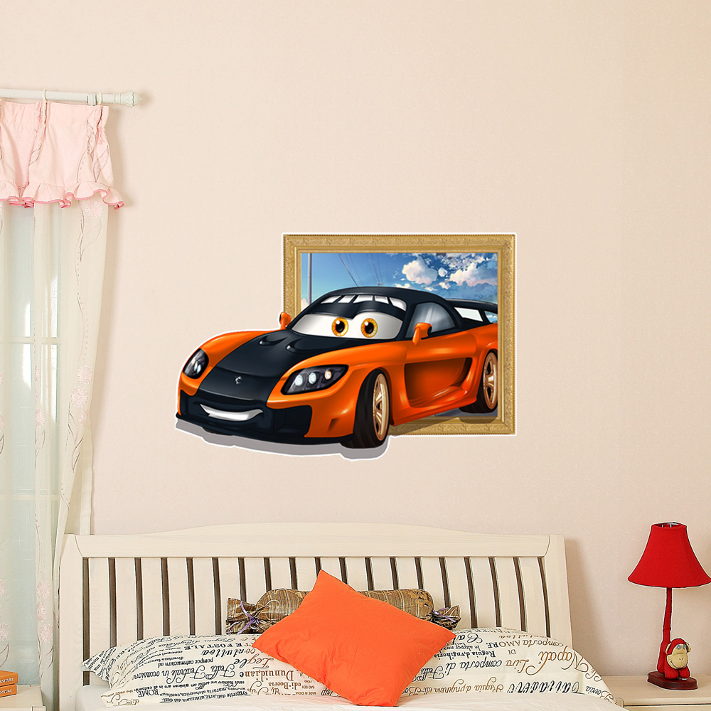 3d kids room decoration sports car wall decals boys room for Sports decals for kids rooms