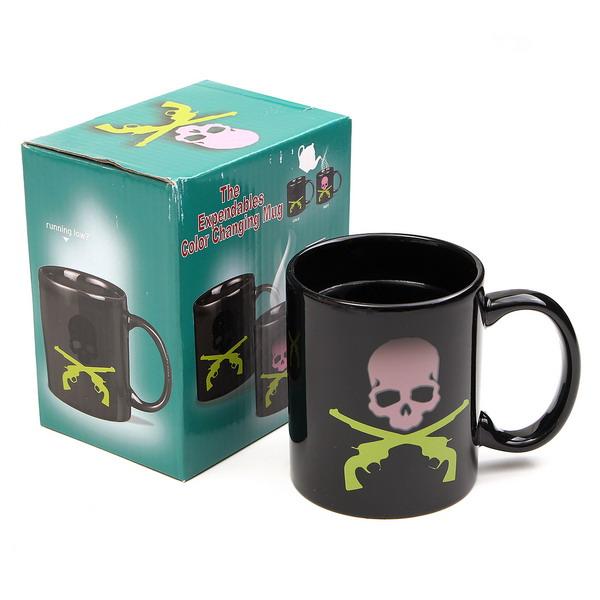Skull Bones Magic Mug Heat Sensitive Color Changing Coffee Milk Tea Cups
