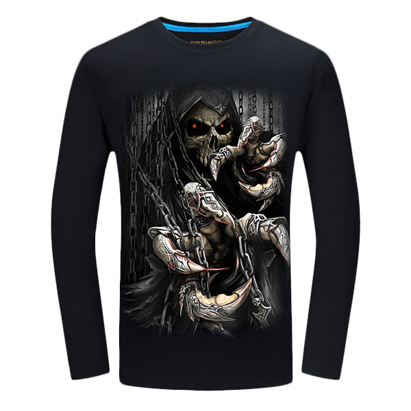 3D Ghost Claw Skeleton Devil Demon Printing Plus Size Cotton Men Bottoming Personalized T-shirt