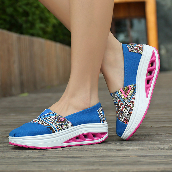 Pattern Match Rocker Sloe Shoes Slip On Fitness Shoes Athletic Sport Shoes