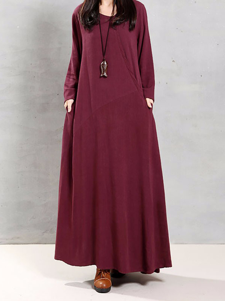 Vintage Women Cotton Loose Solid Long Sleeve Maxi Dress