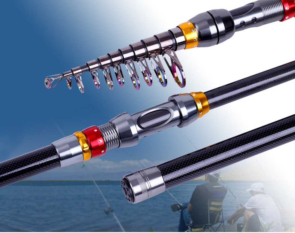 Telescopic fishing rod carbon spinning sea fishing pole ebay for Best telescoping fishing rod
