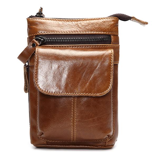 7inch Cellphone Waist Bag Men Retro Genuine Leather Camera Waist Bag