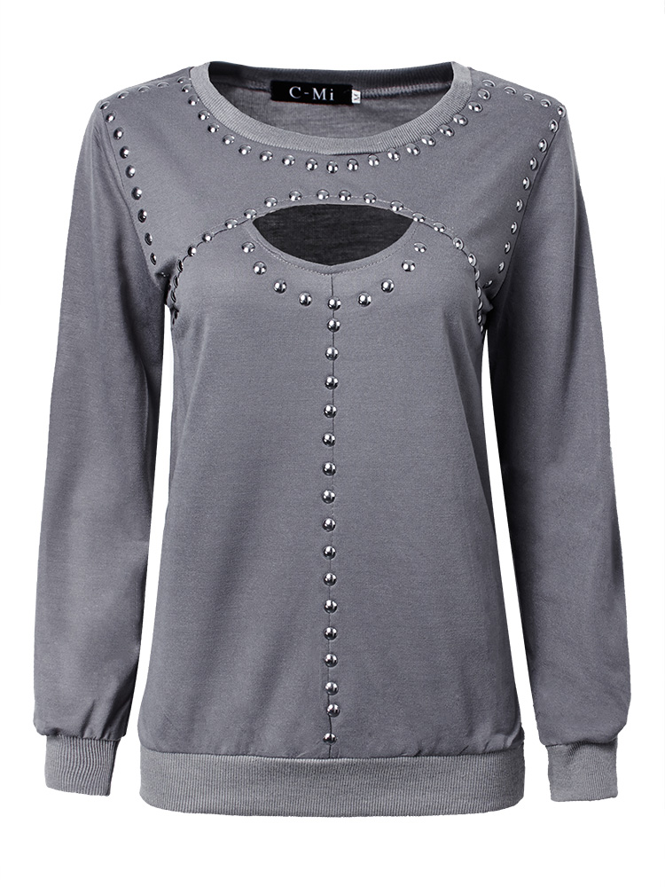 Plus Size Women Sexy Chest Hollow Long Sleeve T-shirt