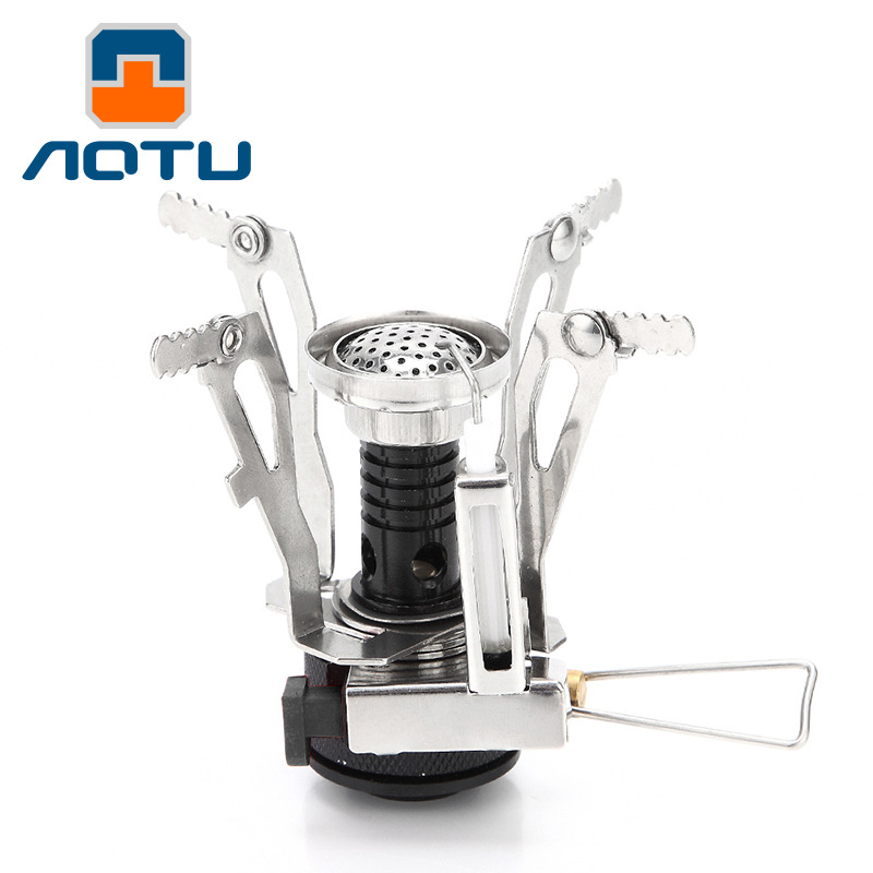 AOTU Camping Picnic Mini Stove Foldable Cooking Furnace Gas Burner EDC Tool For Outdoor Travel