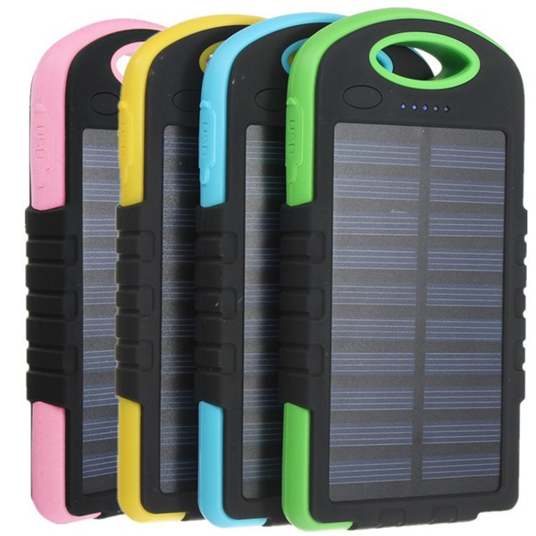 Universal 8000mAh Battery Solar Outdoor Travel Charger Level Indicator DC 5V 2A Power Bank