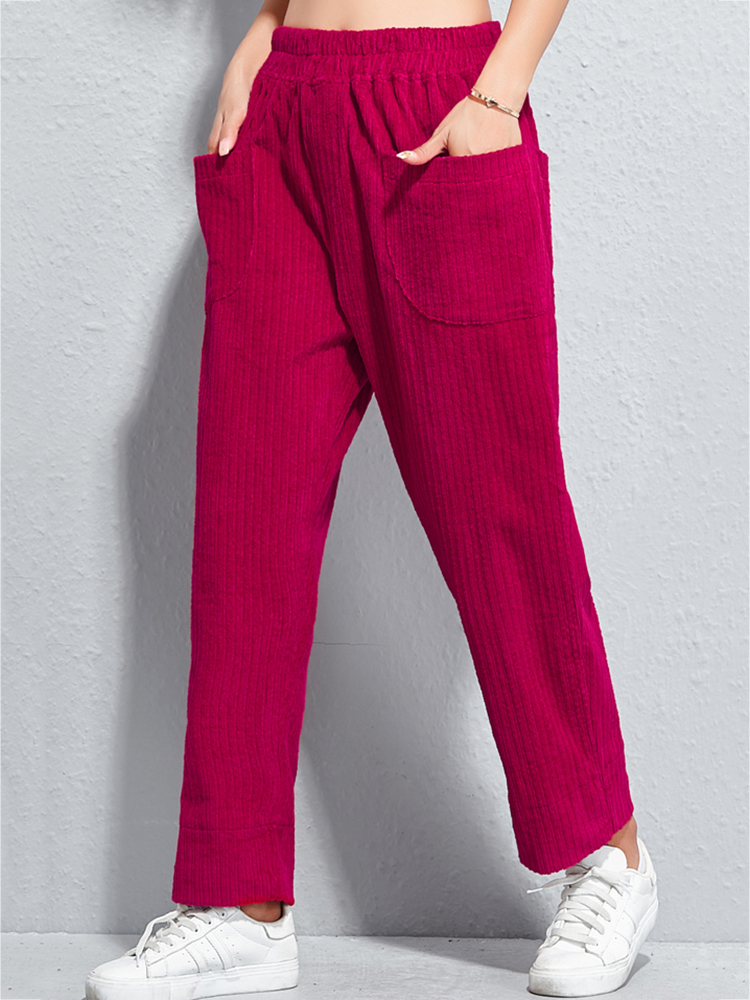 Women Pure Color High Elastic Waist Corduroy Pants with Pockets