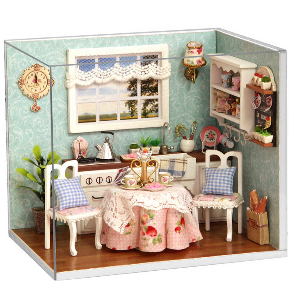 Cuteroom Dollhouse Miniature Dining Room DIY Kit With Cover And LED loft style creative cage droplight led pendant light fixtures for dining room hanging lamp vintage industrial lighting