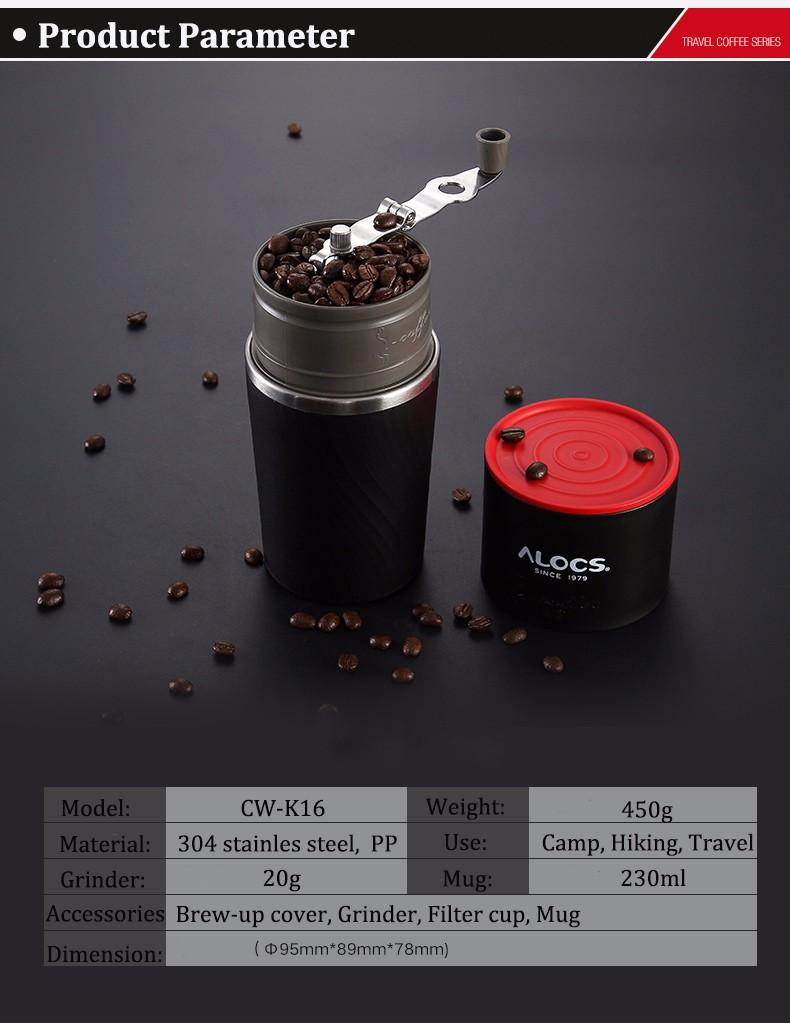 Alocs Camping Travel Coffee Grinding Machine 4 In 1 Brewed Coffee Bean Grinder Mug Cup Sale ...