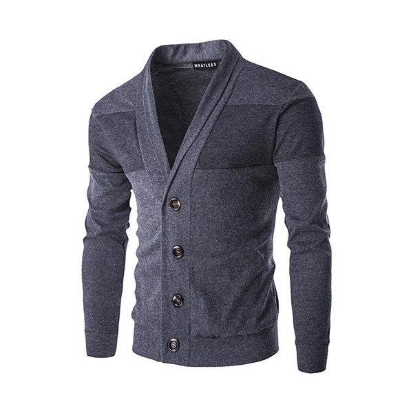 Spring Autumn Lapel Style Sweatershirt Mens Casual  Solid Color Knitting V-Neck Sweater