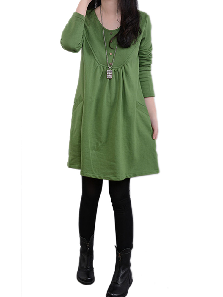 Brief Casual Loose Pocket Solid Long Sleeve Midi Dress about you кардиган