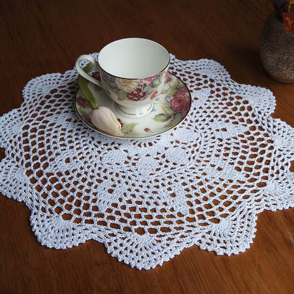 37cm Round White Pure Cotton Yarn Hand Crochet Lace Doily Placemat Table Cloth Decor
