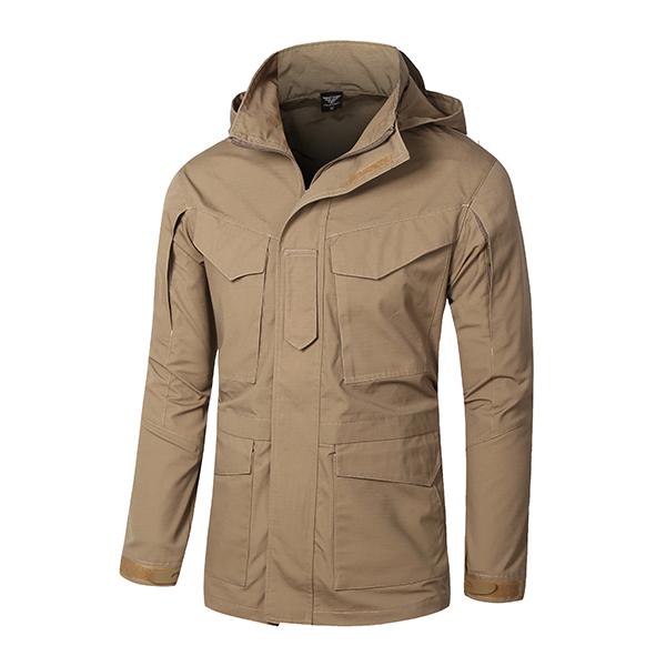 Buy Mens Military Tactical Waterproof Hood Detachable Coat Outdoor Stand Collar Multi-pocket Windbreaker