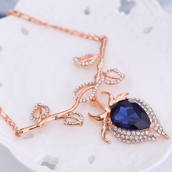 Sapphires Jewelry Set Alloy Leave Rhinestone Earrings Necklaces