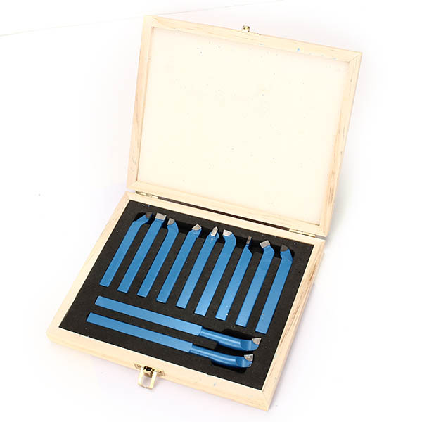 11pcs Carbide Tipped External Turning Tool Set Lathe Cutting Tool Set 8/10/12mm for Mini Lathe high quality mt3 lathe real time center three bearing design tapered lathe power tools precision lathe bearing tool accessories