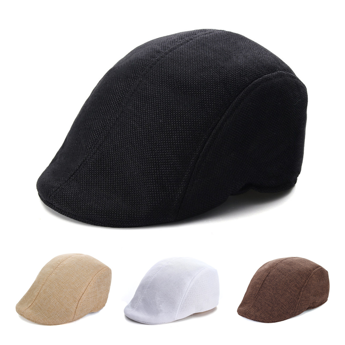 Mens Herringbone Flat Hat Peaked Racing Country Golf Newsboy Beret Cap mens male beret retro cotton visor gorras planas hat cabbie ivy cap