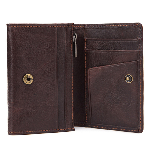 Men Retro Genuine Leather Coin Bag Photo Card Holder Wallet