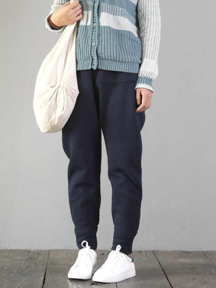 Casual Loose Solid Color Pockets Thicken Cotton Trousers