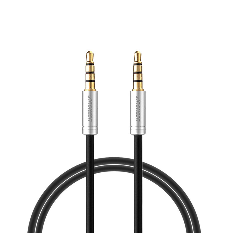 ARCHEER 3.5mm Stereo 4-Pole Male to Male Extension Cord AV Audio Cable For iPhone Smartphone Tablets