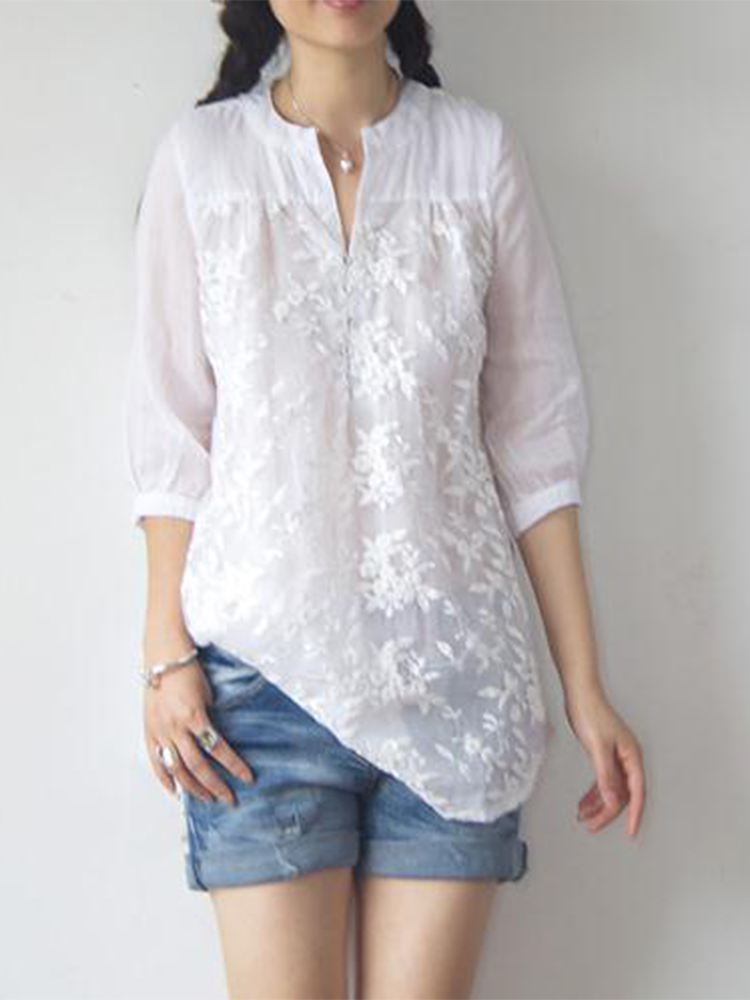 White Women Floral Embroidered Half Sleeve Organza Blouse