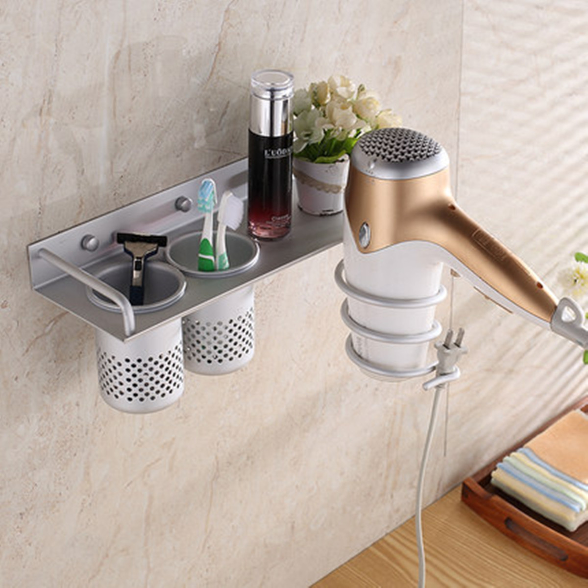 Bathroom hair dryer storage organizer rack comb holder for Organiser un stand